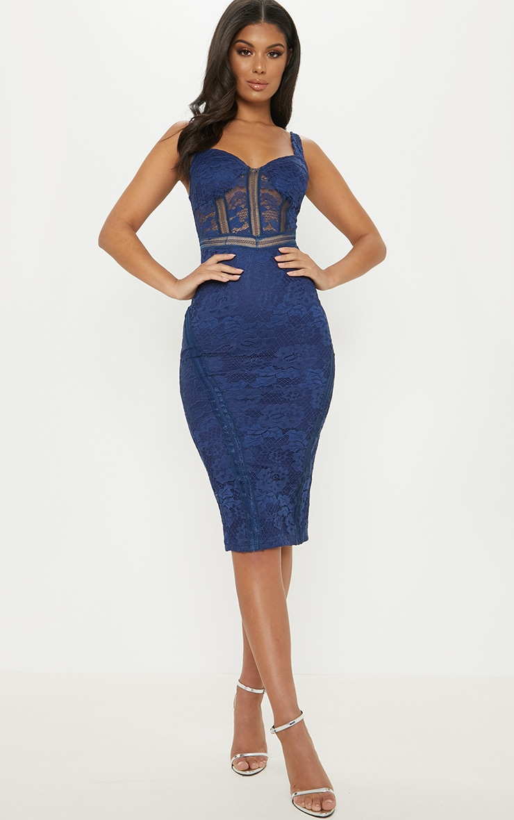 Navy Lace Cup Detail Midi Dress 1