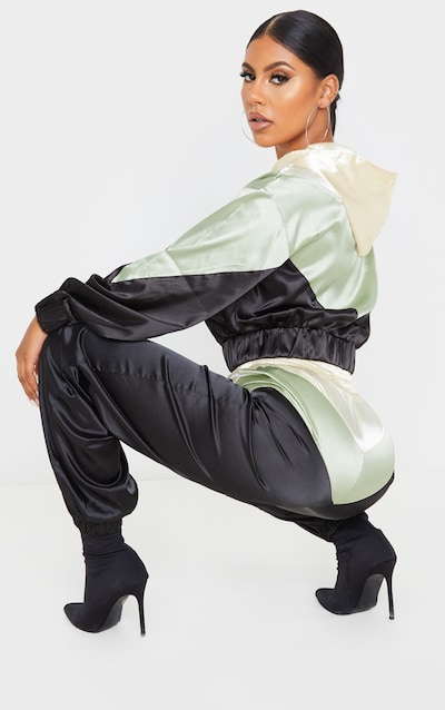 Khaki Satin Contrast Zip Up Hooded Bomber