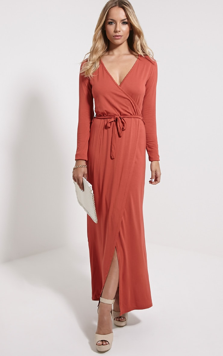 Pennie Rust Wrap Front Maxi Dress 1