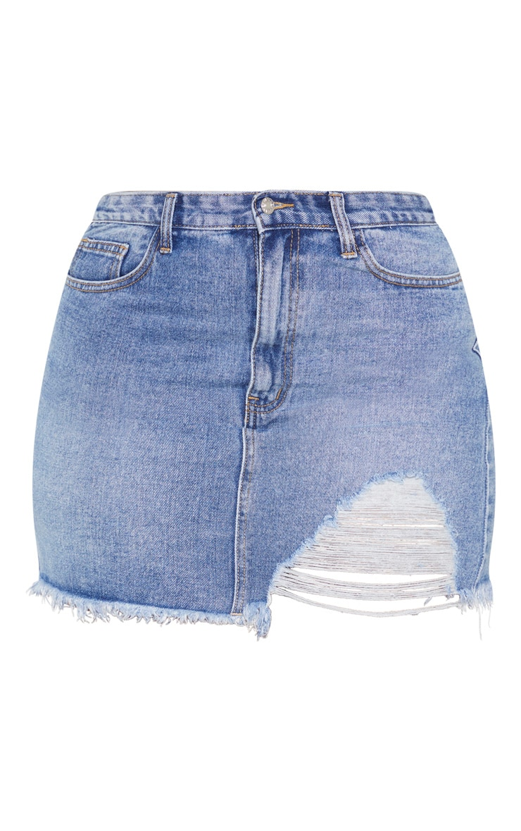 Plus Mid Wash One Sided Distressed Hem Denim Skirt  3