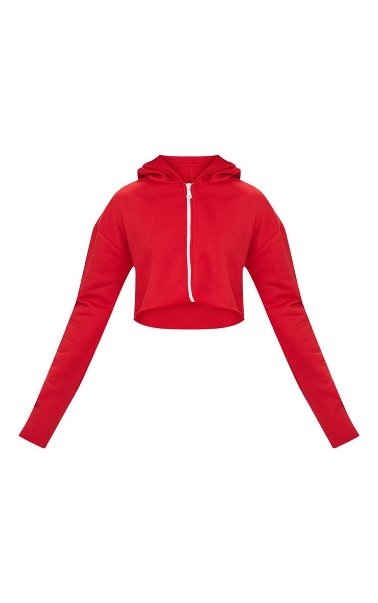 Petite Red Zip Up Cropped Hoodie 3
