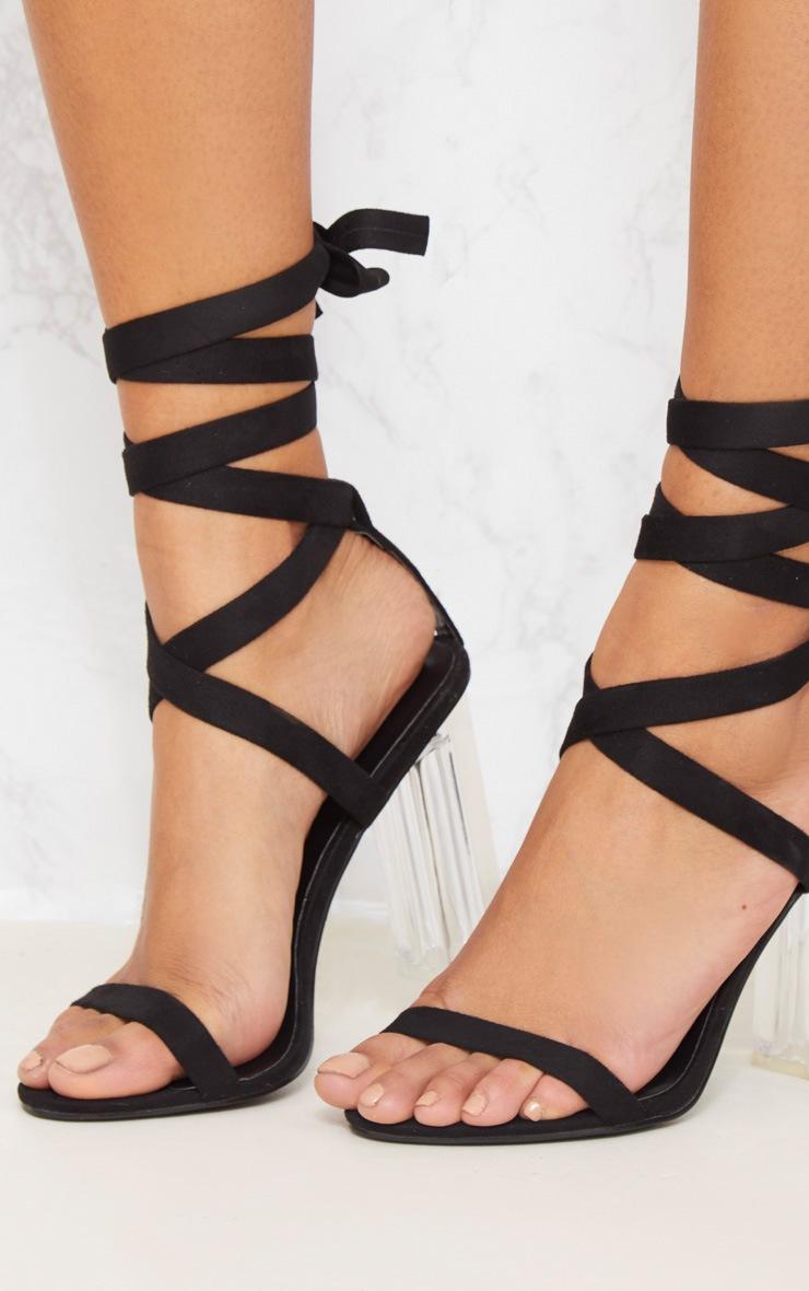 Black Leg Tie Clear Block Heel Sandal 5