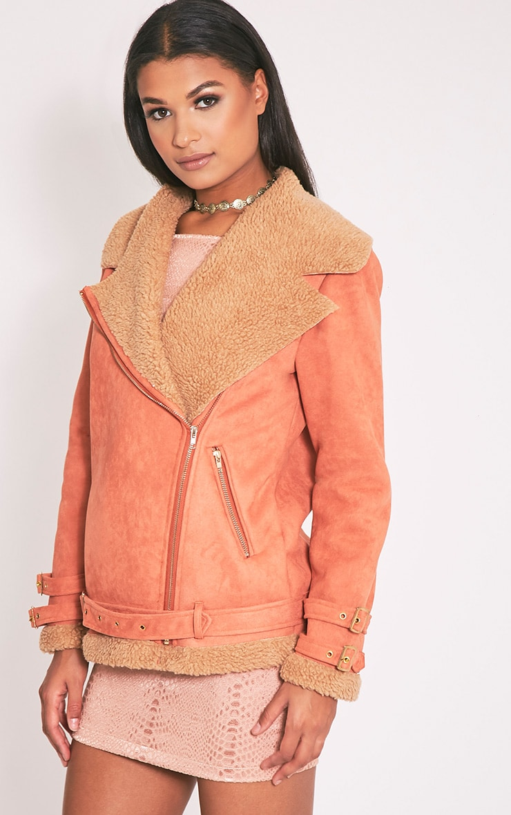 Emilia Deep Peach Faux Suede Aviator Jacket 5