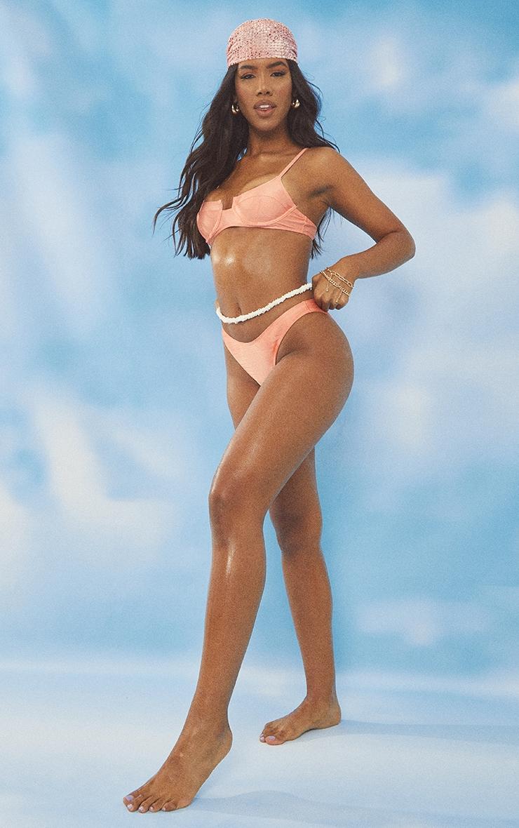 Coral Shiny High Leg Mini Bikini Bottoms 3