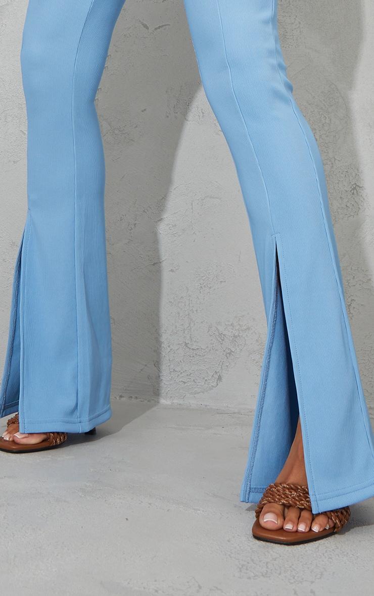 Dusty Blue Power Rib Split Hem Trousers 4
