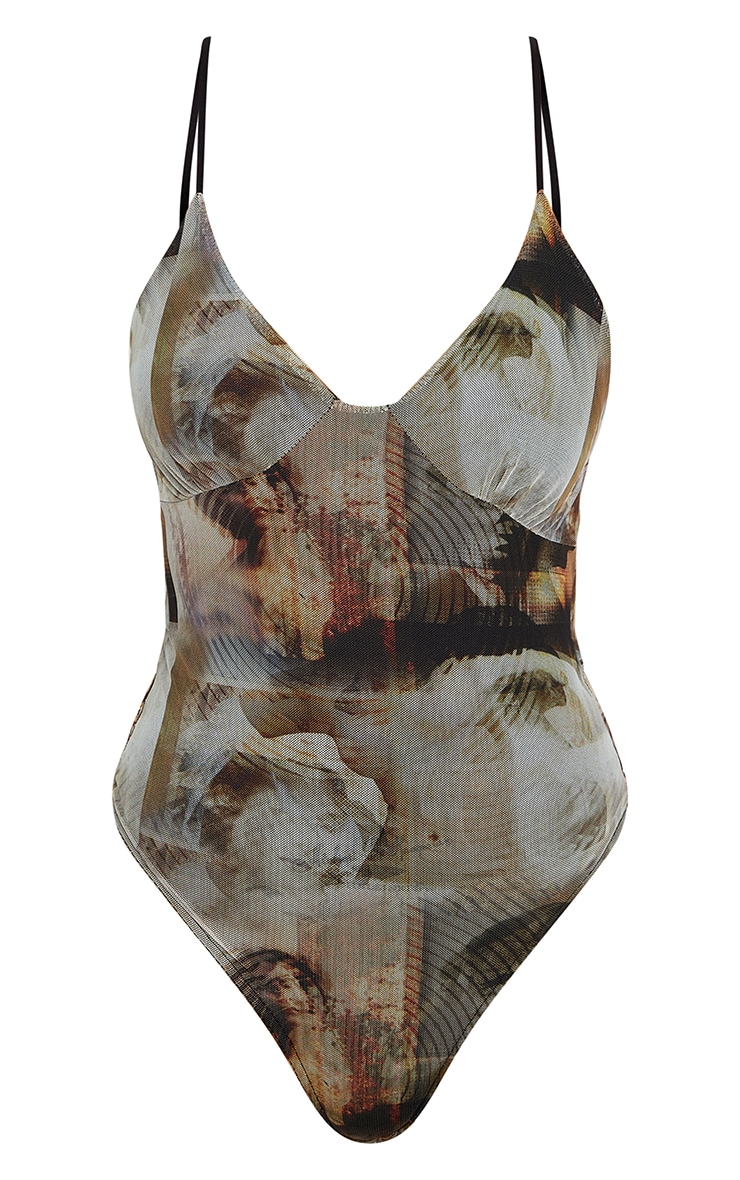 Nude Mesh Abstract Renaissance Print Cup Detail Bodysuit 6