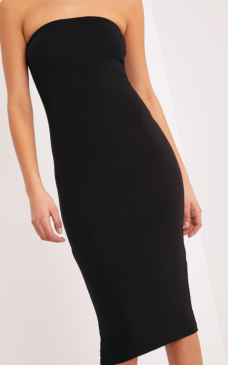 Basic robe midi bandeau noire en jersey 5