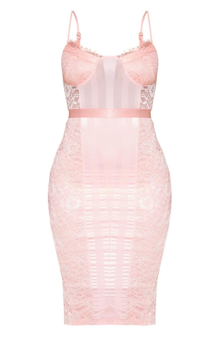 Pink Lace Lined Midi Dress 3