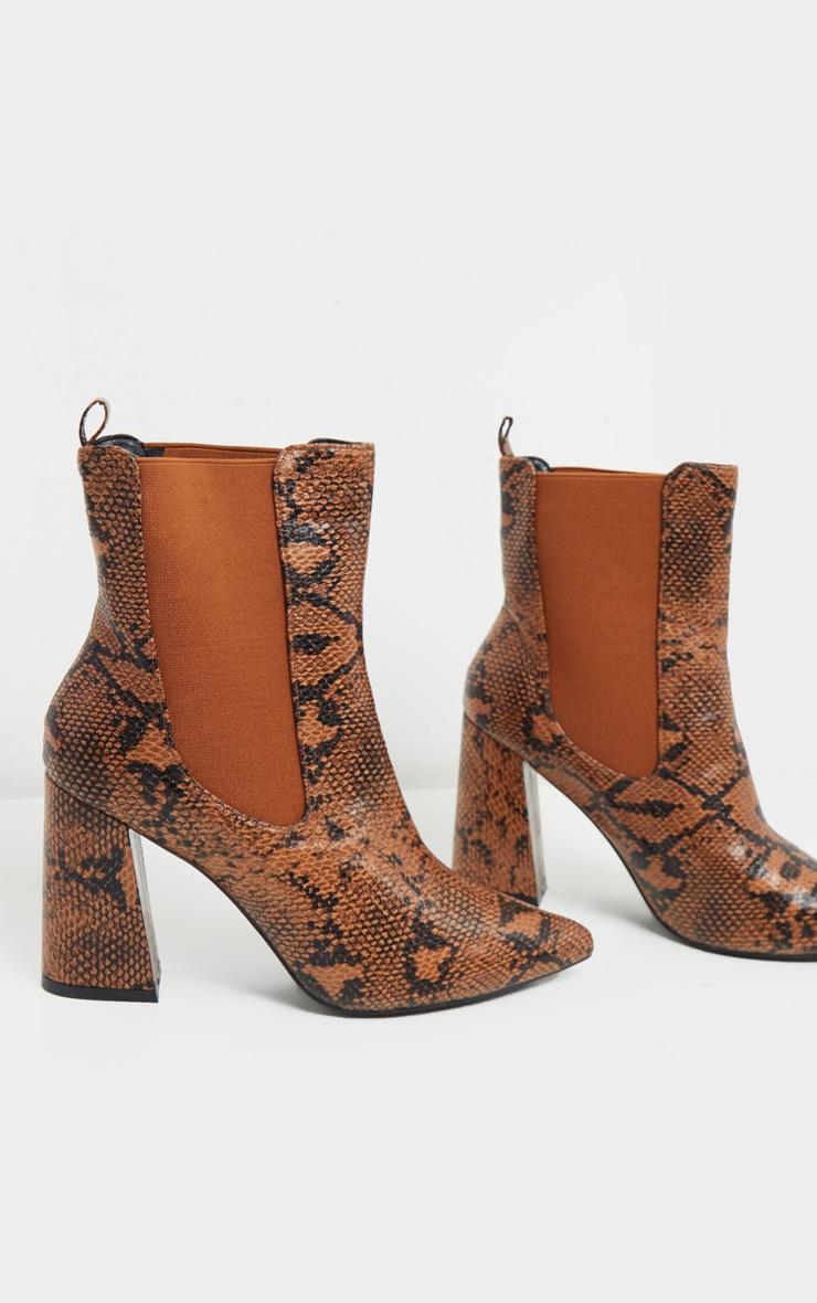 Brown Snake Point Toe Block Heel Chelsea Ankle Boot 4