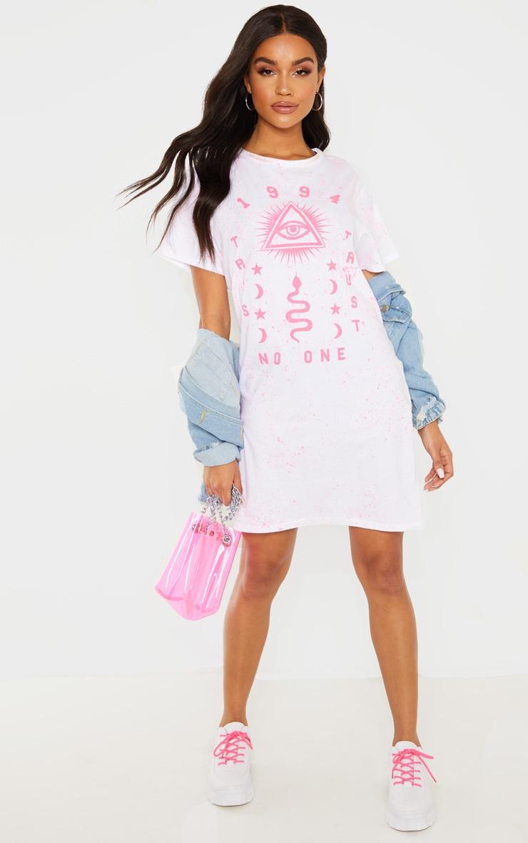 White 1994 Slogan Neon Splatter Oversized T Shirt Dress 1