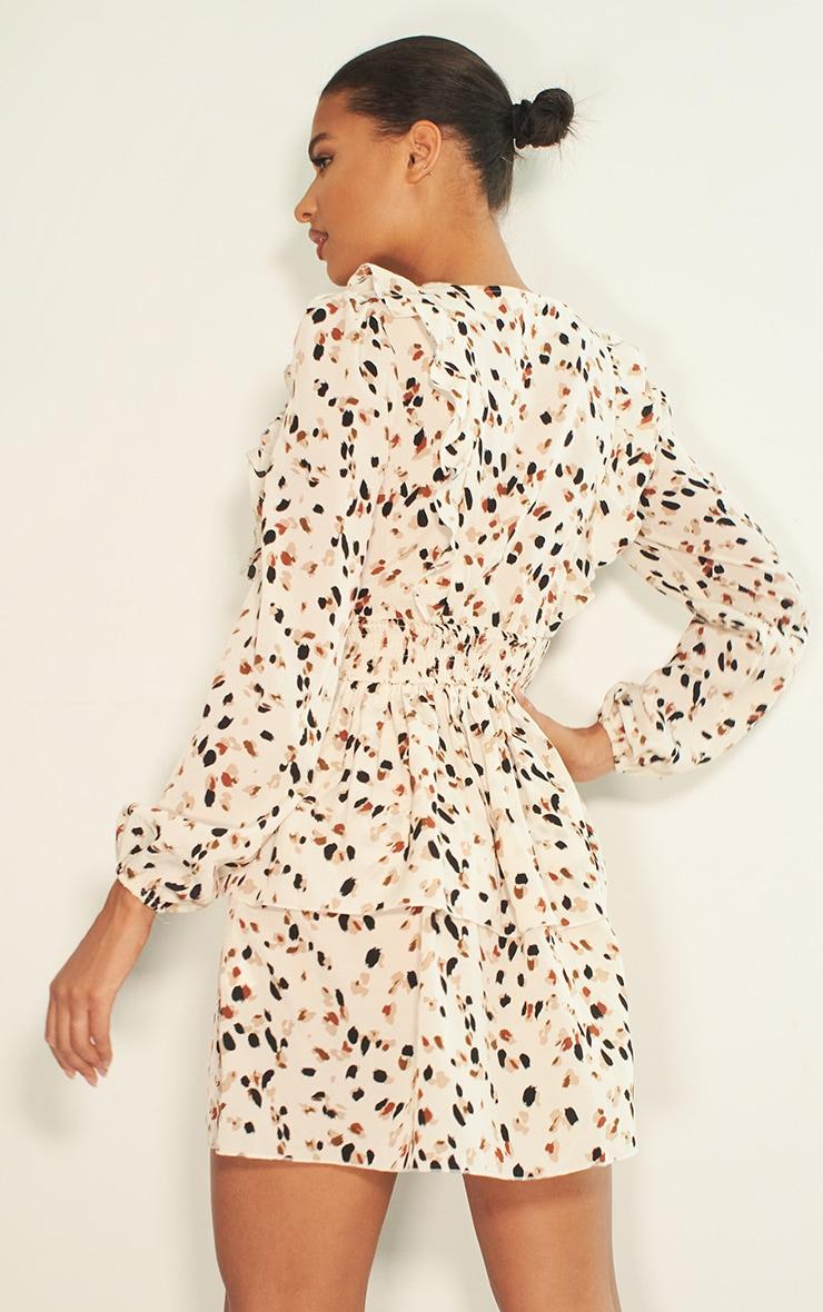Cream Dalmatian Print Ruffle Detail Tiered Shift Dress 2
