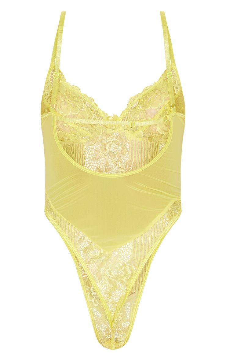 Yellow Lace Insert High Leg Cupped Body 4