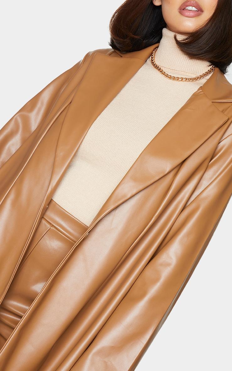 Tan Longline Lapel Detail Faux Leather Blazer 4