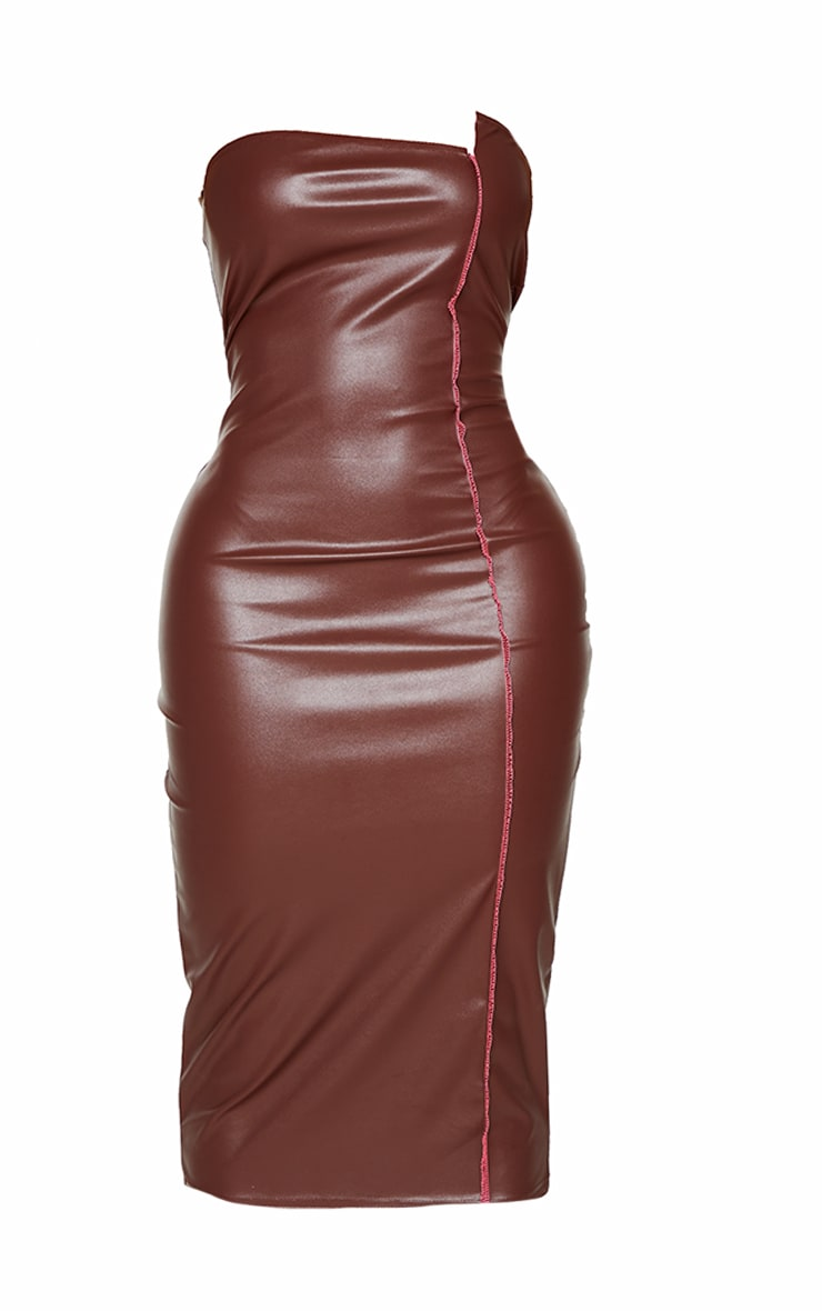 Shape Chocolate PU Overlock Detail Bandeau Midi Dress 5