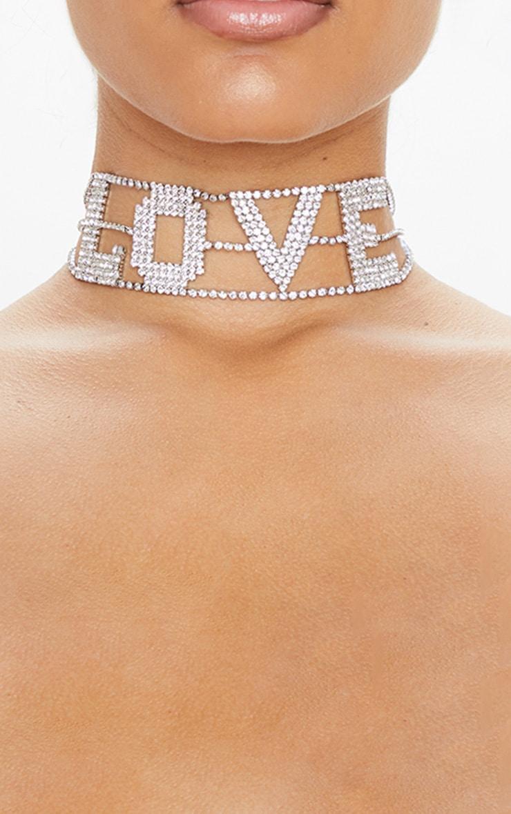 Silver Diamante Love Slogan Choker 2