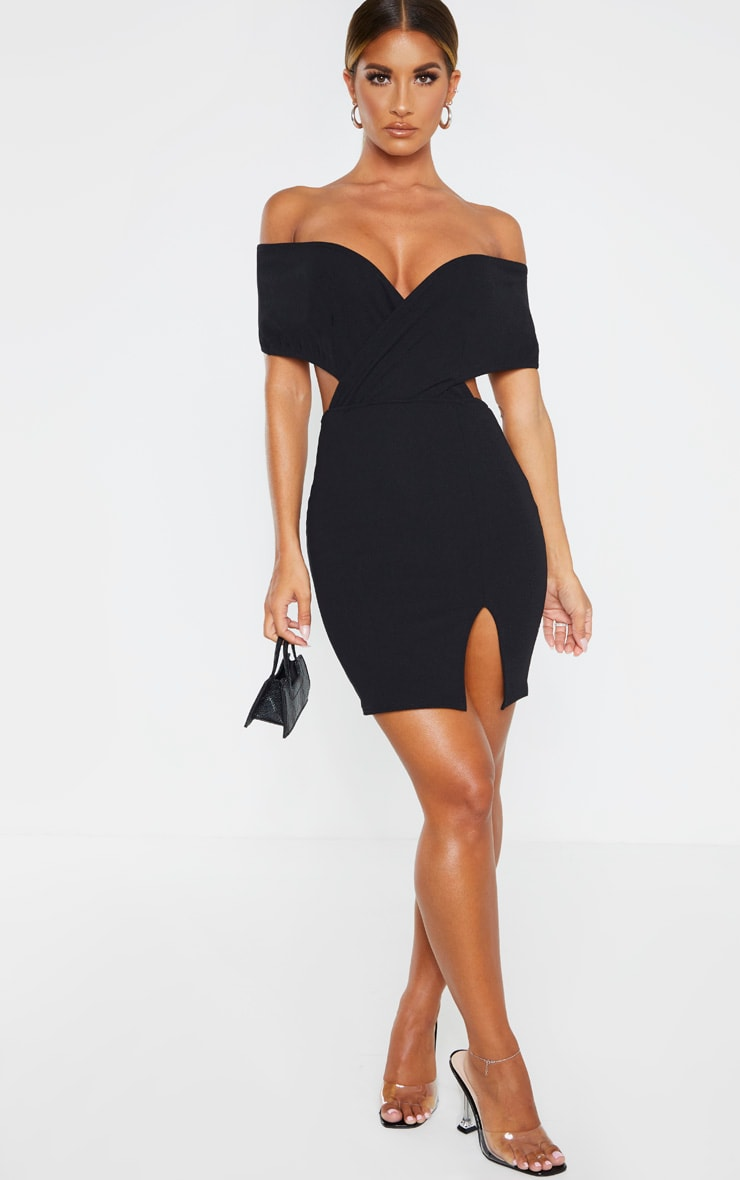 Black Bardot Thigh Split Bodycon Dress 4