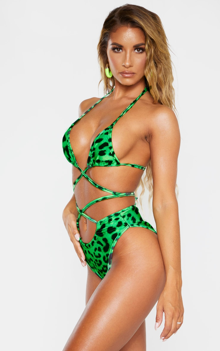 Green Cheetah Ruched Cross Front Bikini Bottoms 2