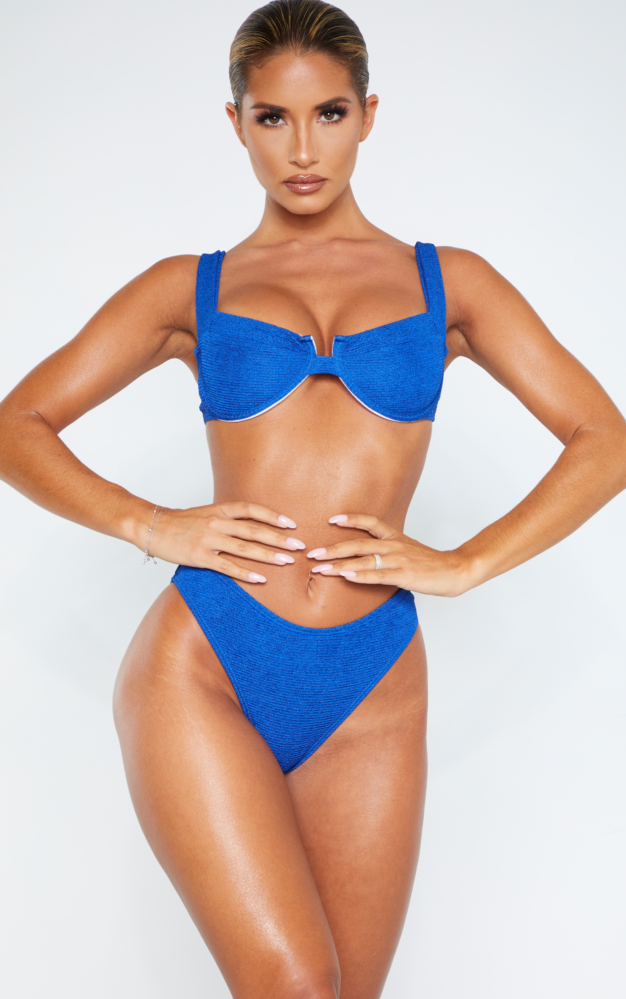 Blue Mini Crinkle Underwired Square Neck Bikini Top 1