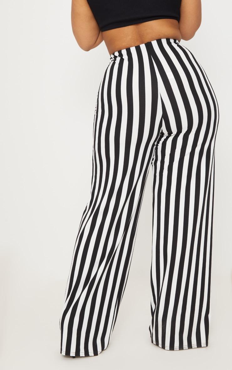 Plus Black High Waisted Crepe Stripe Wide Leg Pants 4