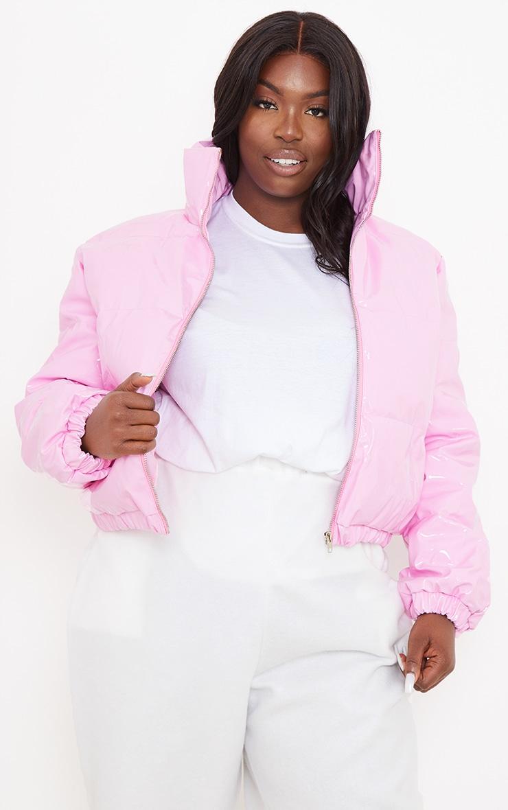 Plus Pink Vinyl Puffer Coat 1