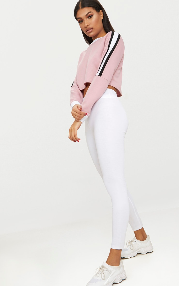 Rose Triple Shoulder Stripe Crop Sweater  4