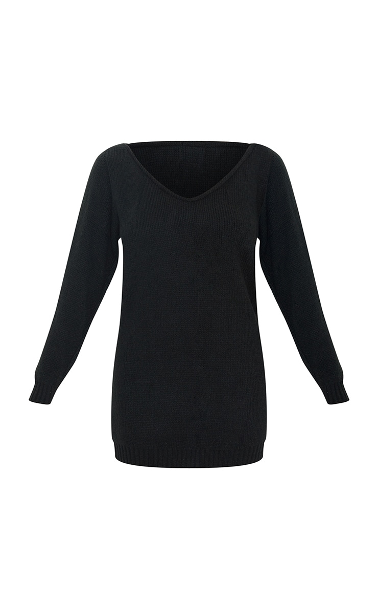 Black Soft Knitted Off Shoulder Mini Dress 5