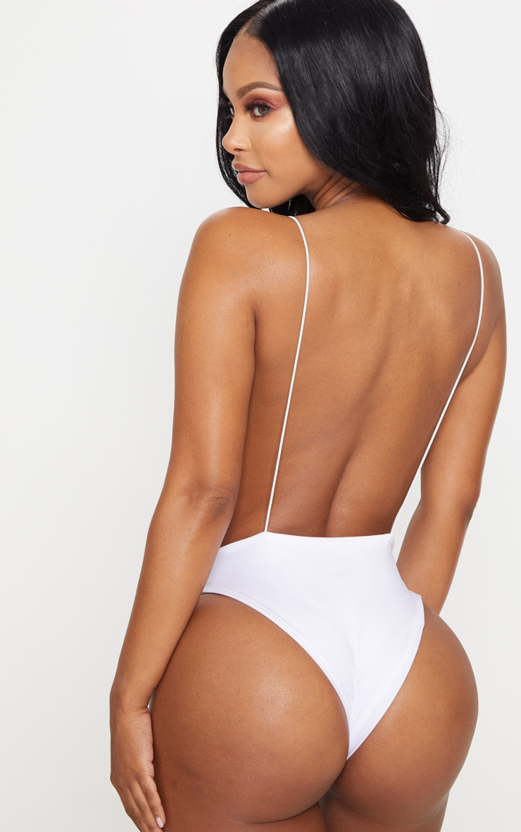 Shape White Plunge High Leg Swimsuit 2