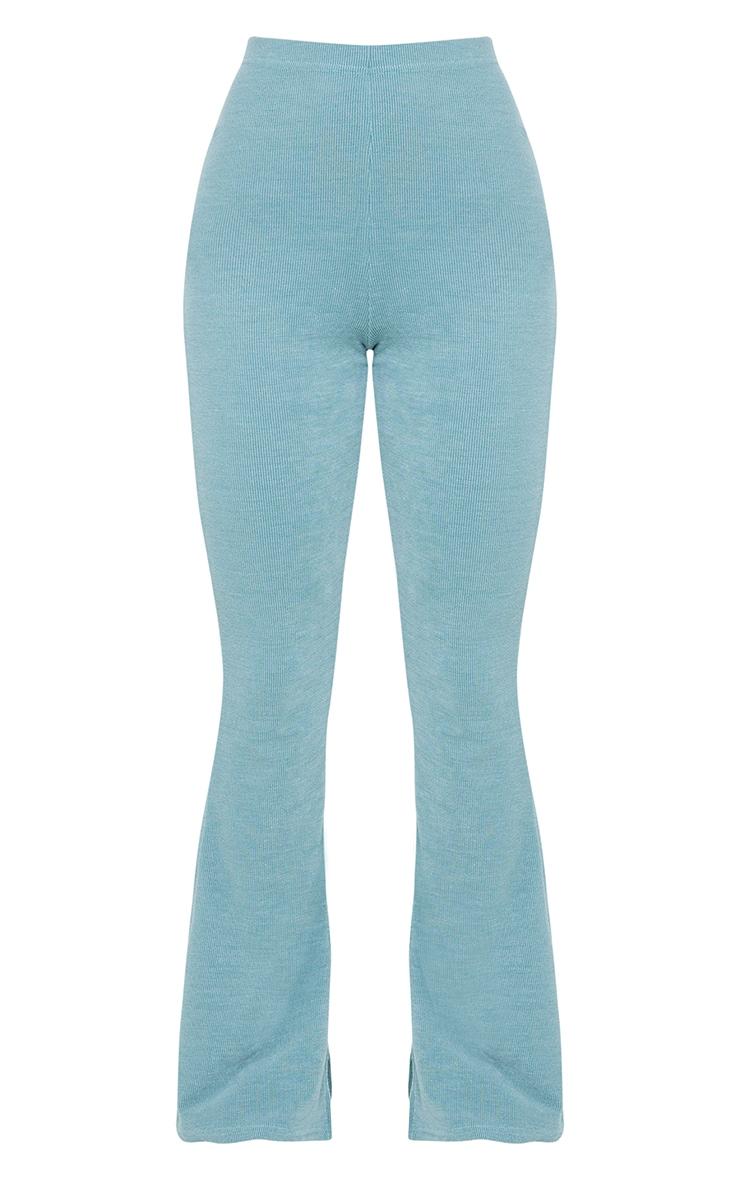 Washed Green Rib Split Hem Skinny Kickflare Trousers 5