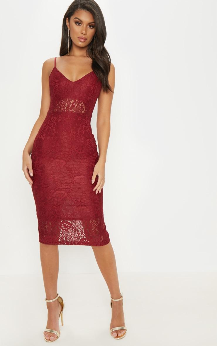 Burgundy Lace Plunge Midi Dress 5