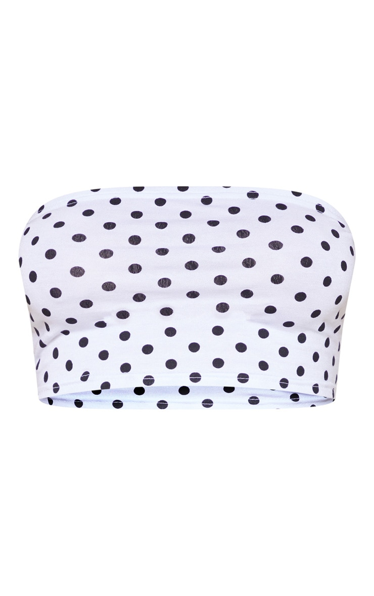 White Polka Dot Printed Bandeau Crop Top 3
