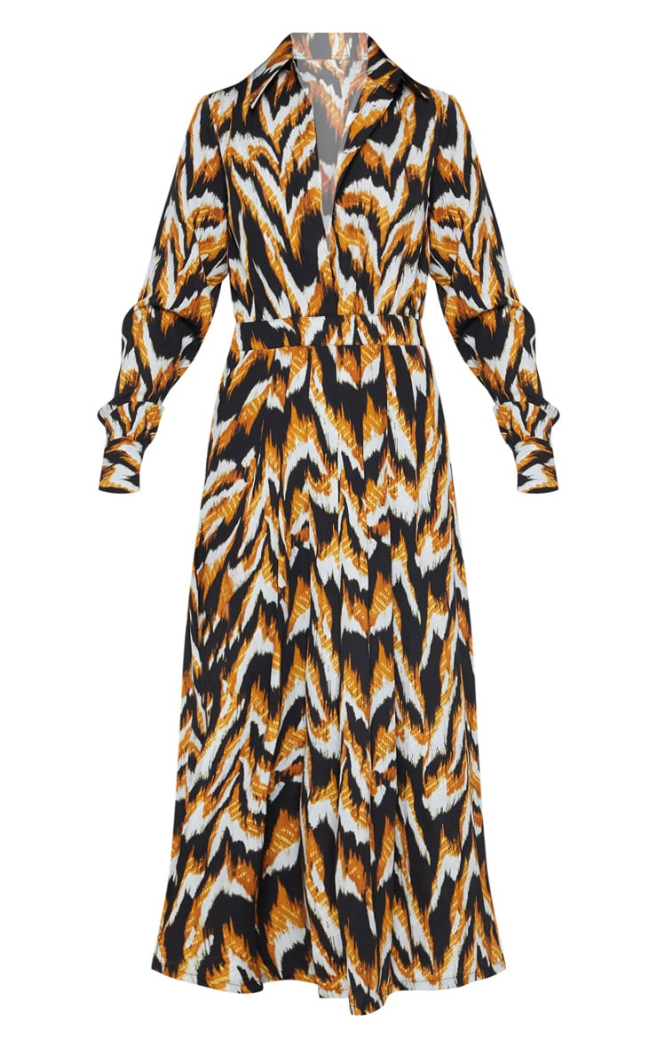 Black Tiger Print Long Sleeve Midi Shirt Dress 3