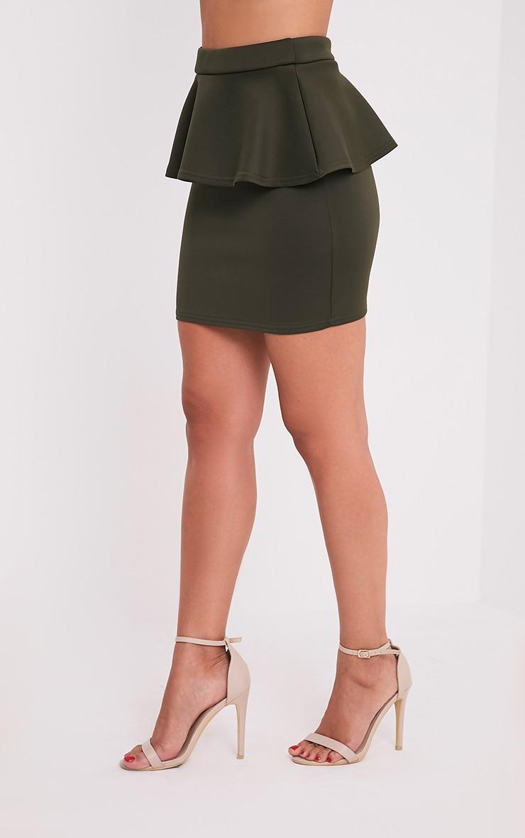 Mariela Khaki Peplum Scuba Mini Skirt 4