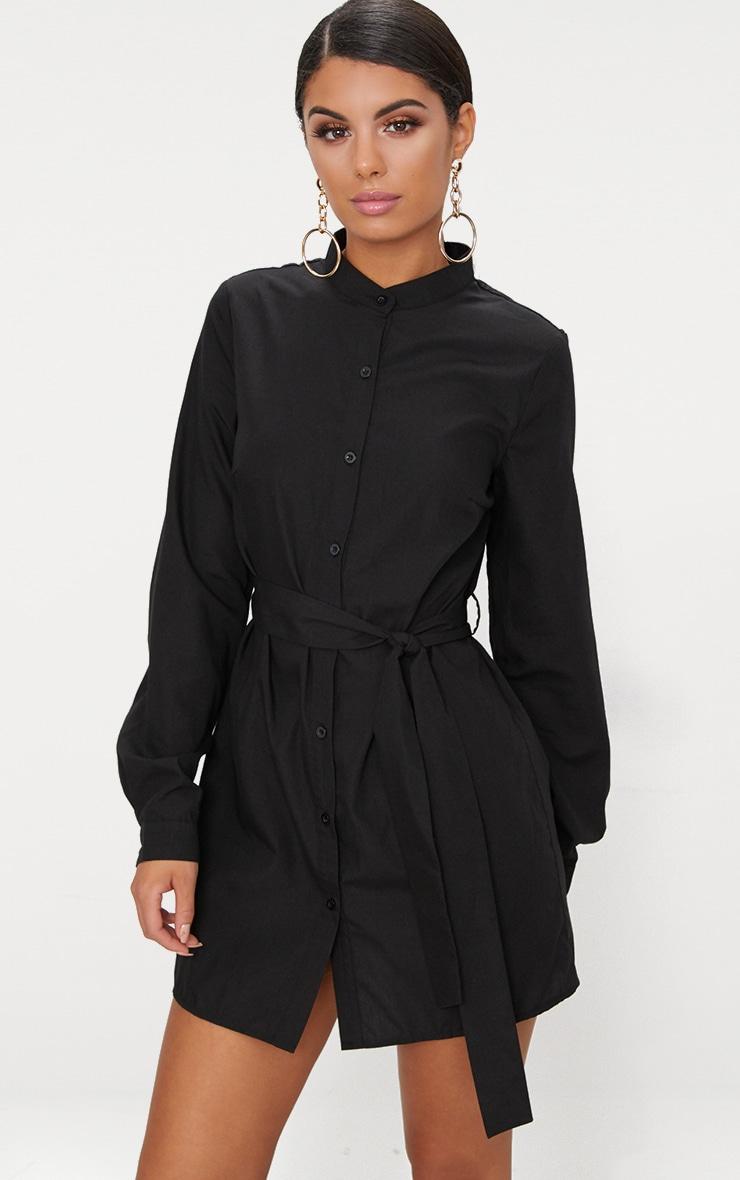 Black Tie Waist Shirt Dress 1