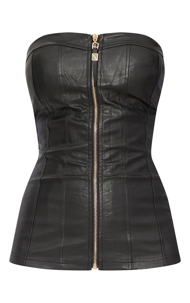 Black Faux Leather Zip Up Bustier Top 3