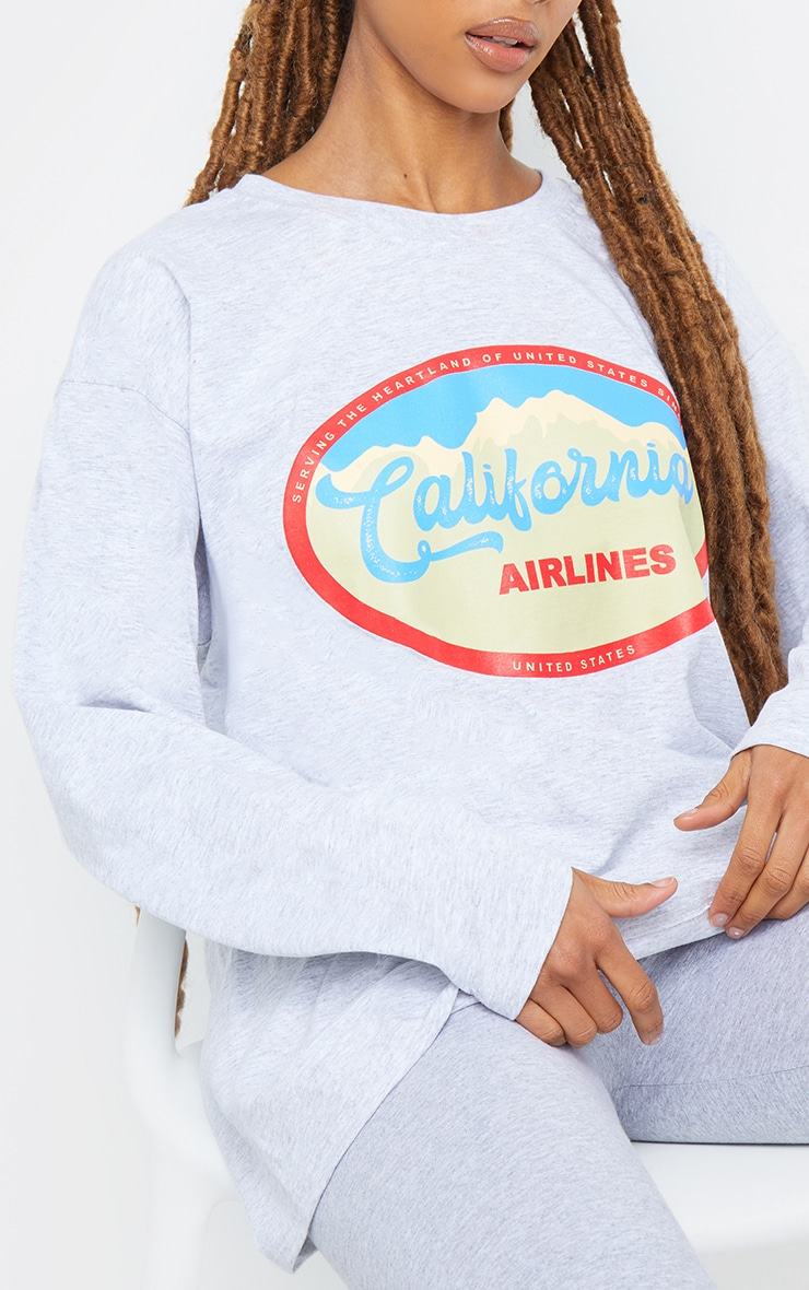 Grey California Airlines Printed Long Sleeve T Shirt 4