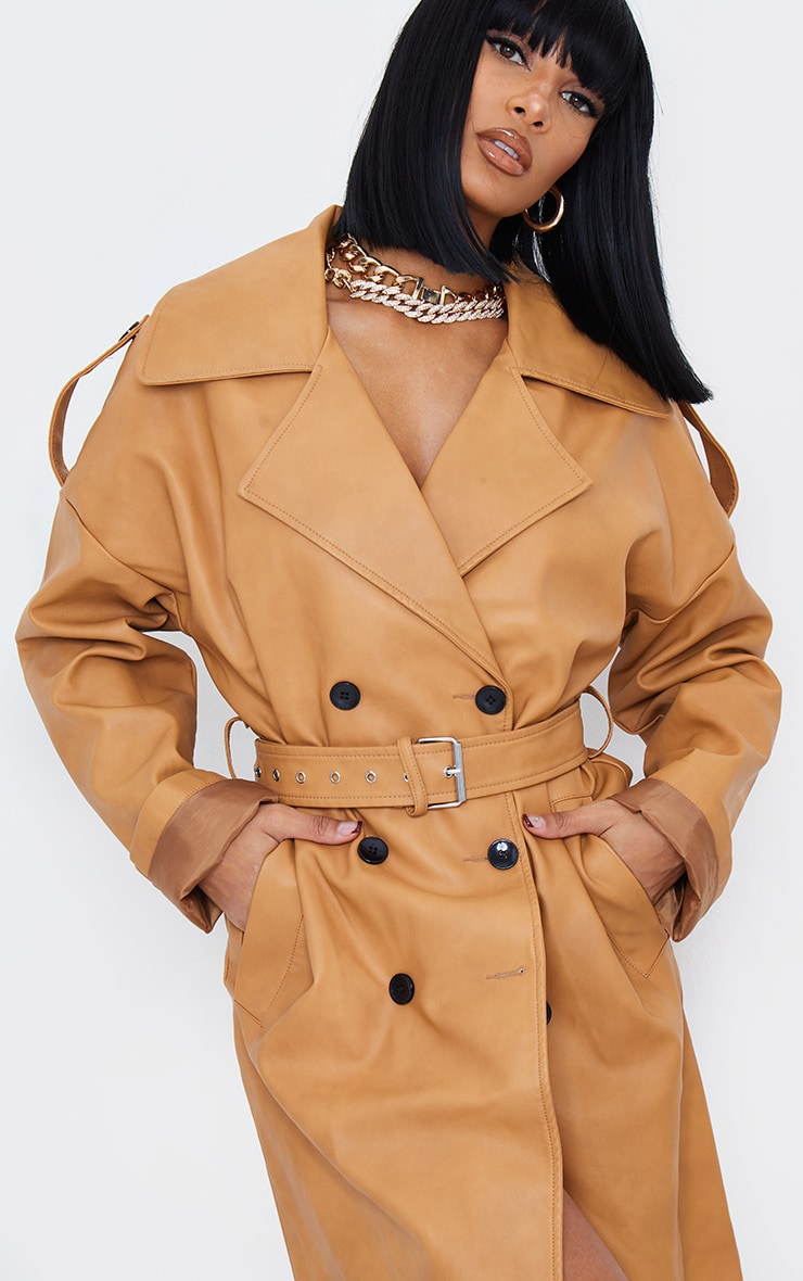 Camel Faux Leather Drop Arm Midi Trench 5
