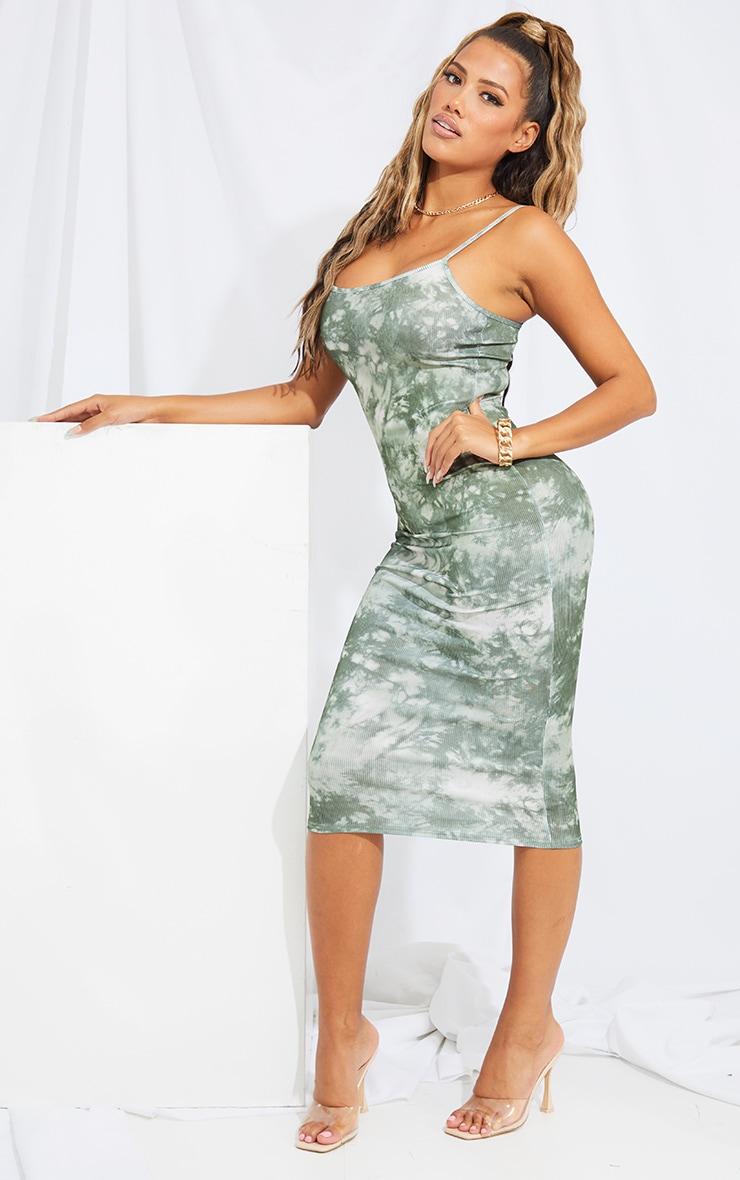 Shape Khaki Tie Dye Rib Strappy Midi Dress 3