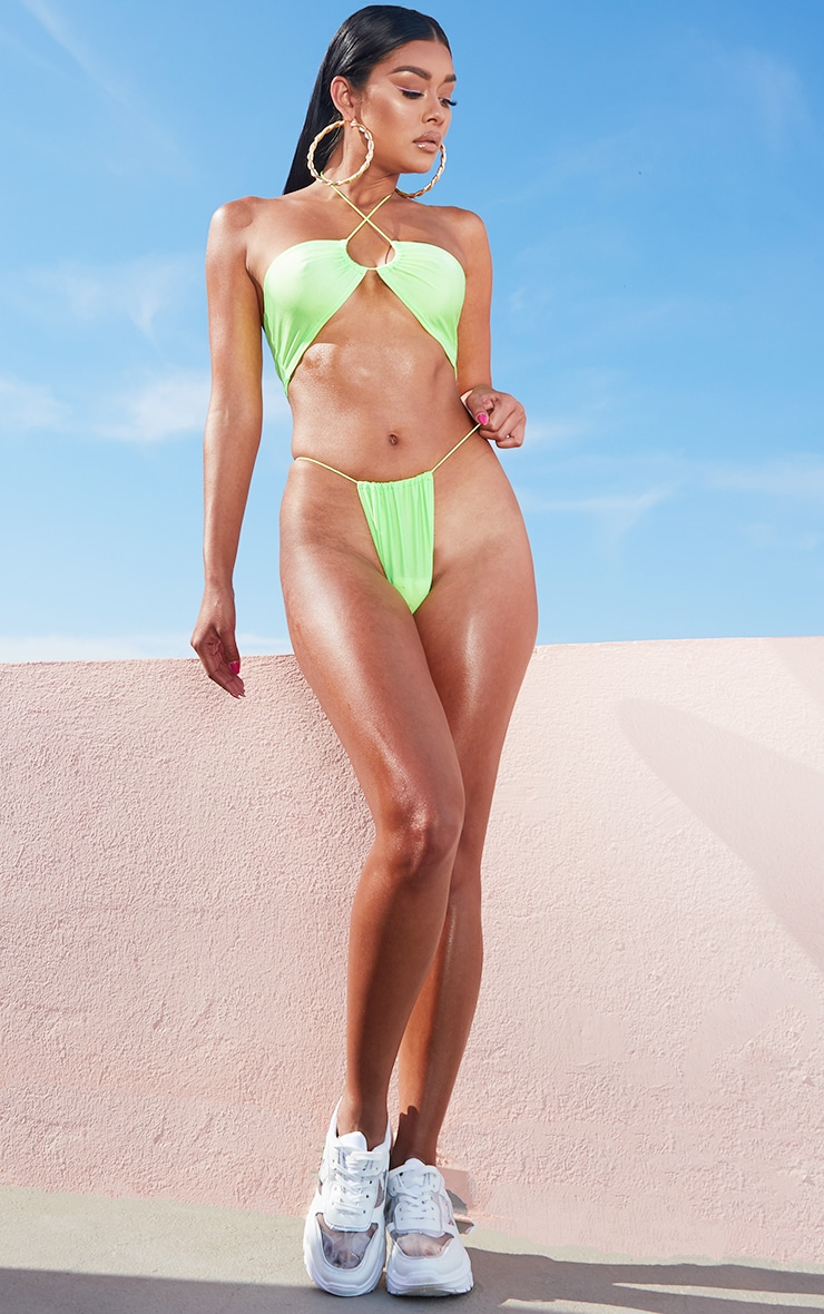 Lime Elastic Side Bikini Bottom 4
