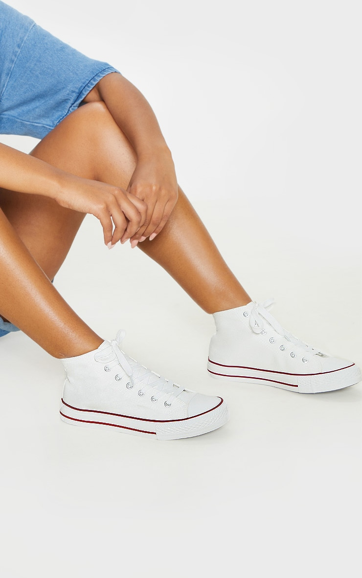 White High Top Canvas Sneakers  1