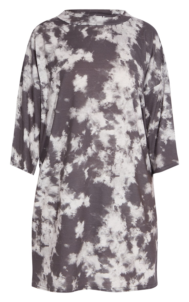 Petite Grey Oversized Tie Dye T Shirt Dress 5