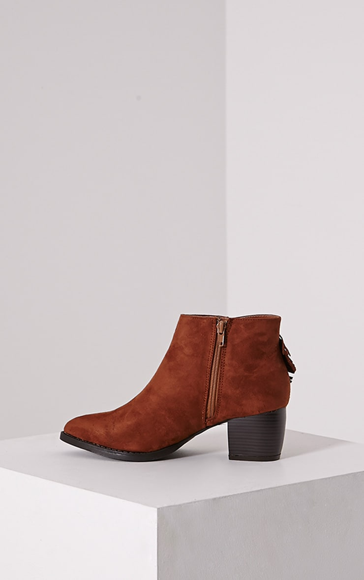 Cairo Tan Faux Suede Tassel Ankle Boots 4