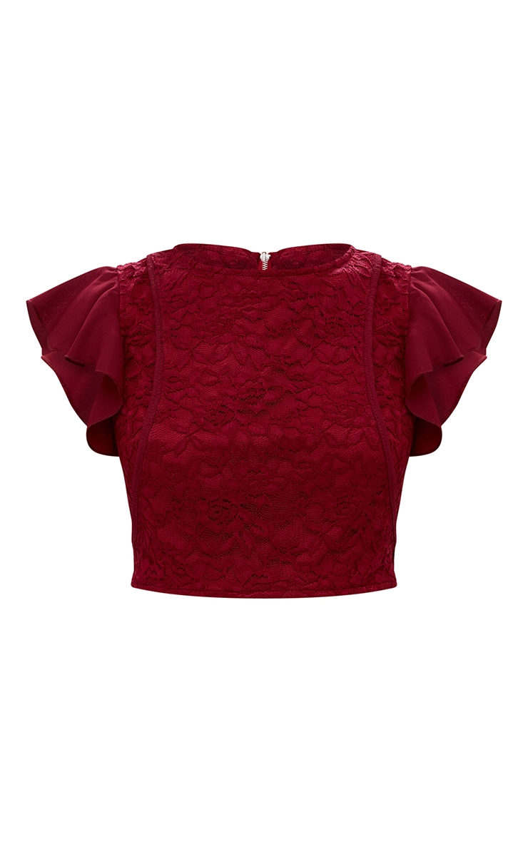 Burgundy Lace Frill Sleeve Detail Crop Top 4