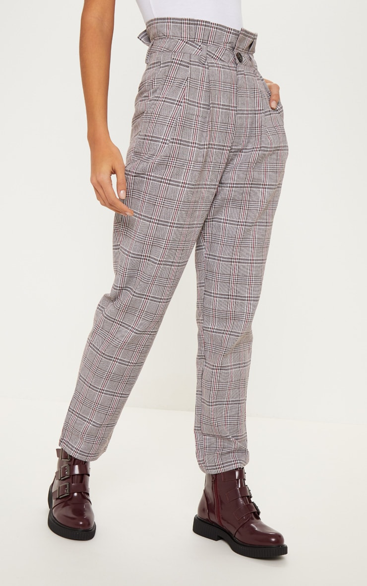 Chocolate Check Paperbag Pants 2