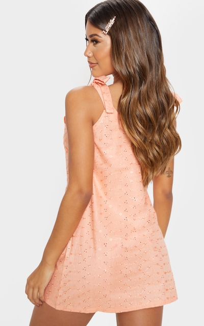 Peach Broderie Analgise Tie Shoulder Shift Dress