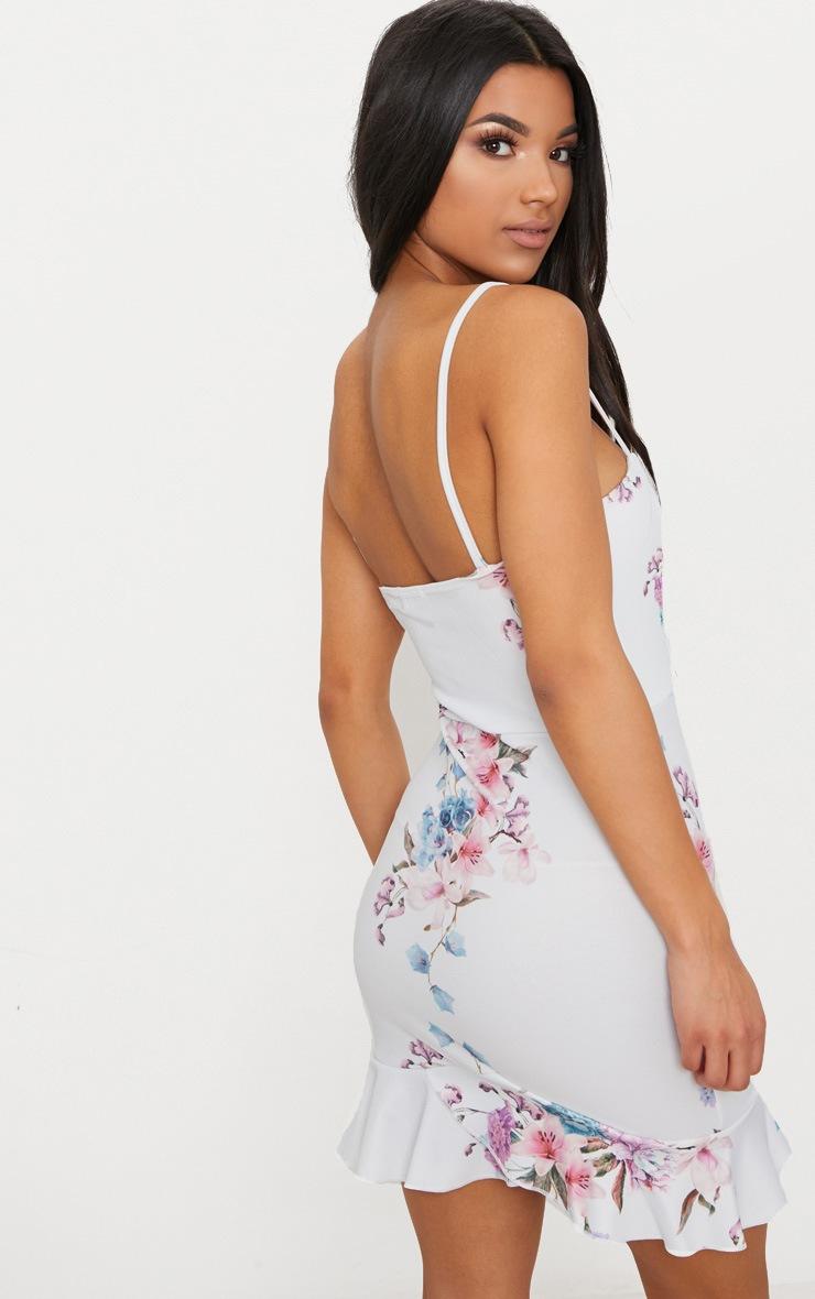 Dusty Blue Floral Print V Bar Frill Hem Bodycon Dress 2