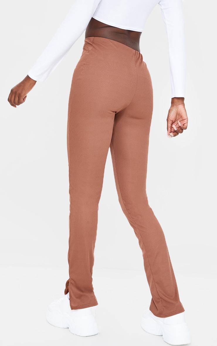 Tall Chocolate Ribbed Skinny Split Hem Trousers 3