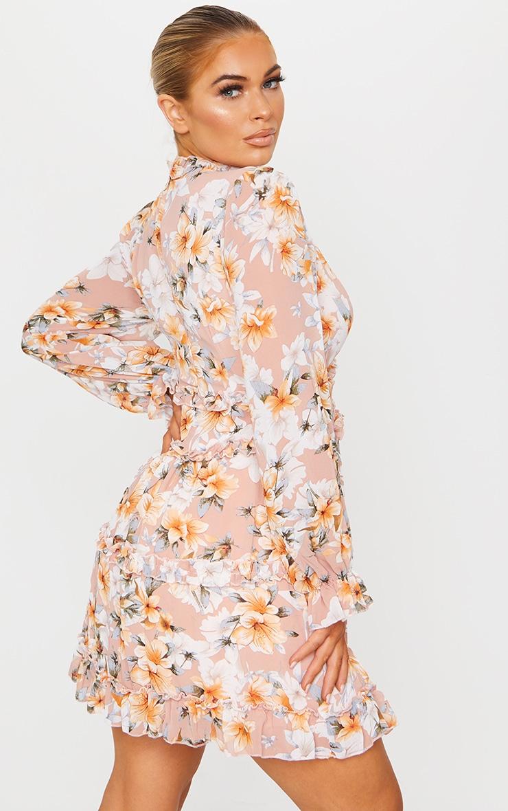Peach Floral Frill Smock Dress 2