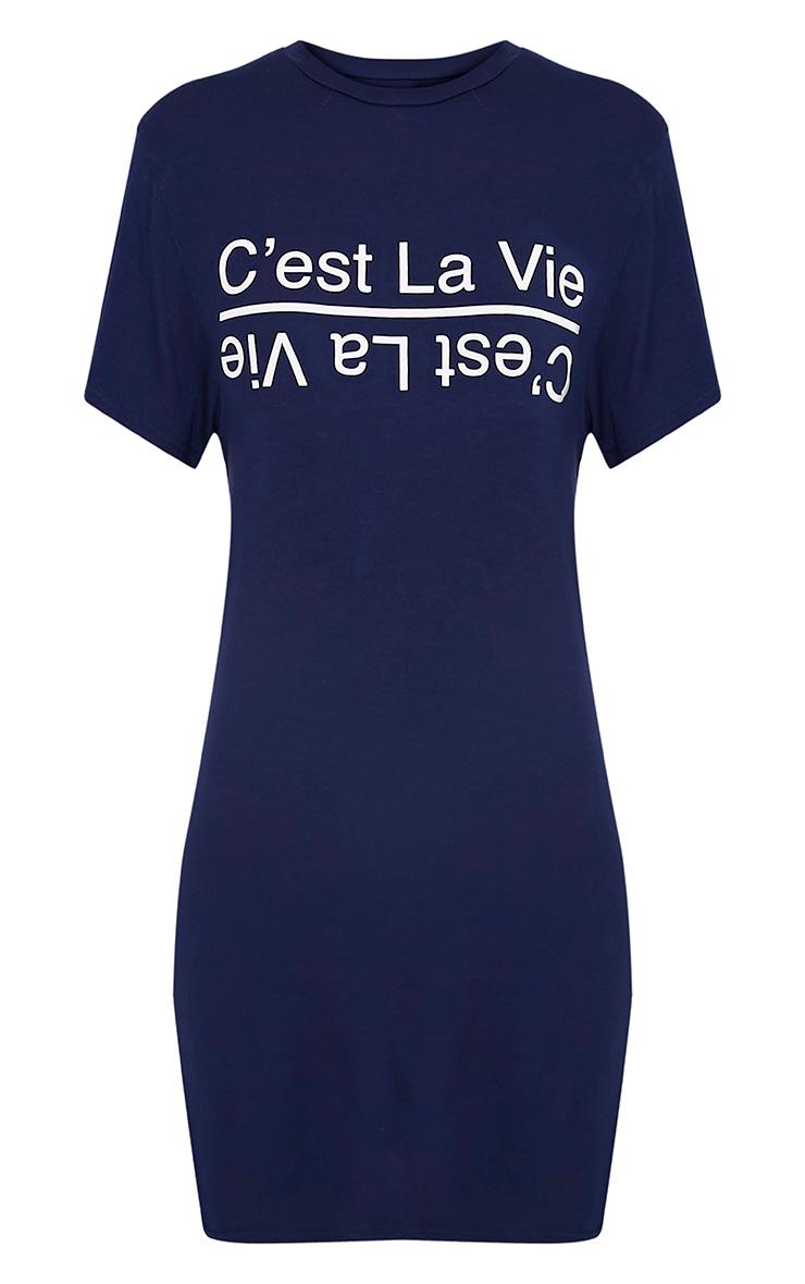 C'est La Vie Slogan Navy T-Shirt Dress 3