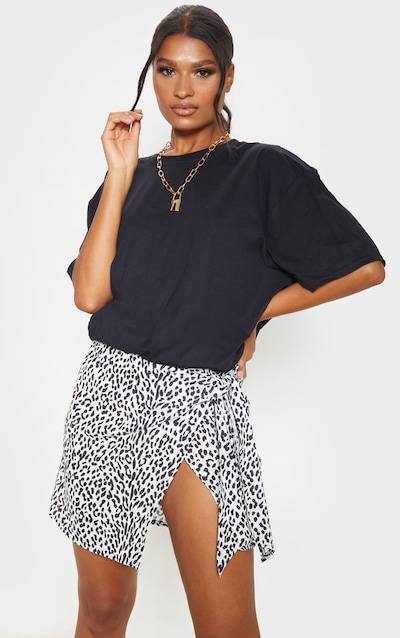 Black Woven Leopard Print Wrap Mini Skirt