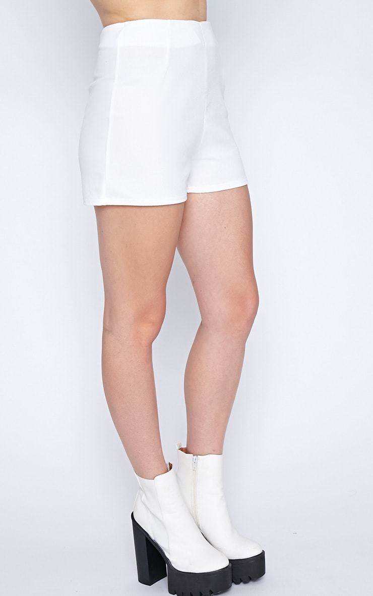 Aubrey White Textured High Waist Short  3